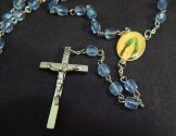 "Prayer counter-Global-Catholic-Five sets of 10 blue beads/Silver crucifix/Medal of Mary-19 1/2"" long"