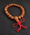 "Prayer counter-Tibet-Tibetan Buddhism-21 brown beads/red string-4 3/4"""
