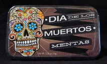 Box of mints with decorated skull