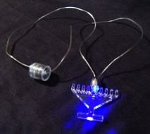 Necklace with battery-lit menorah