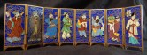 Miniature Screen panels with Chinese figures in traditional dress