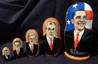 Nesting dolls with images of former U.S. presidents