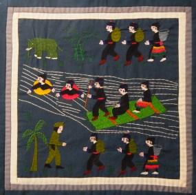 "Decorative-Vietnam/USA-Hmong-Fabric/thread (embroidery)-12 1/2"" x 12 1/2"""