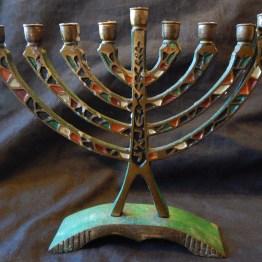 """Part of Hanukkah celebrations-Israel-Global-Metal/enamel-7"""" x 7 1/2"""""""