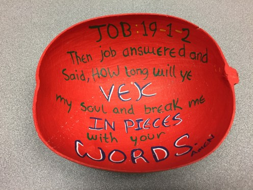 Painted calabash with popular biblical verse, St. George's, Grenada, ca. 2013.