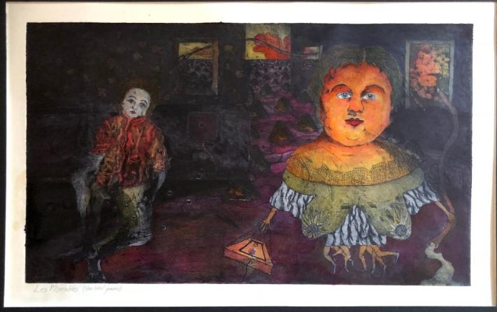 This is a painting in watercolor and ink by a boy named Jeff Leeah. Jeff was a scandal at Southern Methodist University, where I met him. He was openly gay — In Dallas, in the early Seventies. He painted his face, and later mine, in garish designs that kind of remind me of Day of the Dead masks. We were twin outcasts, one straight, one gay, both openly creative and unashamed of it. We finally gathered, maybe, five fellows on a campus of ten thousand or more. Jeff could do anything. He drew and painted, improvised classical quality works on the school's pianos (which the traditional music students ridiculed in terror, as they knew they'd never have his talent), and he wrote poetry that regularly eclipsed mine in the school literary magazine awards. Jeff died of complications from testicular cancer in 1976. When I left Dallas for Syracuse University the year before his diagnosis, he gave me this work. As far as I know, only his love, Matt Osterberg, possesses any of Jeff's visual artwork. He left very few objects of art, and we are all the poorer for that.