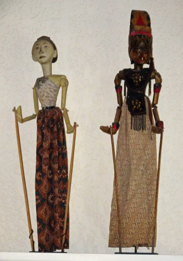 "Wayang golek puppets; Java, Indonesia Wood, paint, cotton fabric, female is 24"" tall, the male is 26"", purchased used 2015 (age >60 years)."