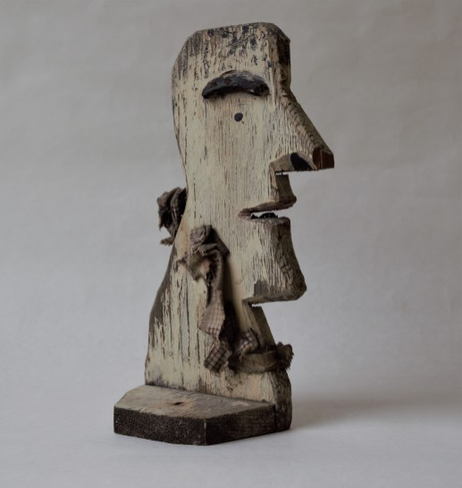 """Silhouette portrait sculpture. Made by Romano Gabriel (1887-1977). Recast fruit crate wooden boxes, nails, fabric, and paint. Measures 10"""" by 4.5""""; base 4.5"""" by 4.5"""". Made between 1945 and 1977. Photo by Dante Goldstein Ruberto."""