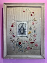 "Anonymous, Embroidered Cloth, c. 1940, cloth, thread, paper holy card 28"" by 20"" (unframed)"
