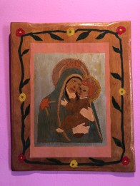 "Anonymous, Madonna and Child Painted Tablet, 2004, wood, acrylic paint, shellac 17"" by 13¾"""