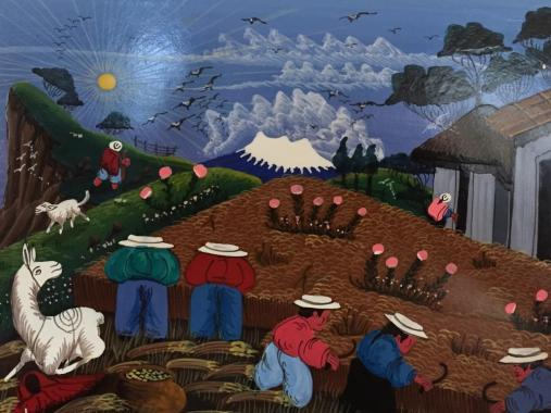 Painting of farm life near Otavalo, Ecuador. Corn is the main crop in this region. Size 8 by 6 inches.