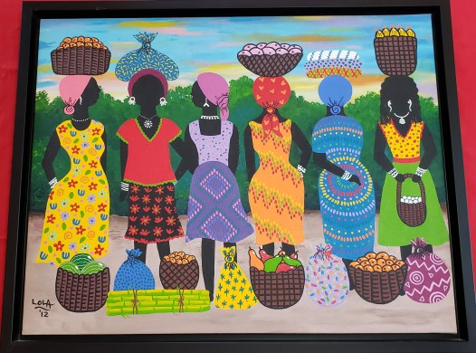 "By Garifuna artist Market Ladies, 2012 21½"" long x 26¾"" wide Artist: Lola, Placencia, Belize Material: Acrylic on canvas The Garifuna are the descendants from a mix of Amerindian Arawak and Carib or Kalinapo from the Kalinago and African people. They are also known as Garinagu, the plural of Garifuna."