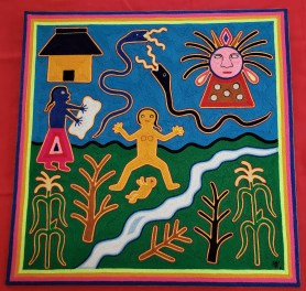 "23¼ inches x 23¼ inches Artist: ""ALP."" Nayarit, Mexico Material: yarn and beeswax On back of painting: PParto de la Mujer Huichola Cuando una mujer Huichola siente que ha llegado el momento de dar a luz, se retira legos de su casa (Fig. de la parte superior izquierda). Llebandose consigo a una amiga o pariente, que sea su propia hija si es que tiene la edad suficiente para ayudarla en su parto (Fig. Que se encuetra debajo de la casa). Ordinariamente se ban a la orilla del rio o a una barranca, escogindo un lugar apartado y escondido para no ser vistas por algun viajero. La madre de los dioses (Nakawe) es la diosa de la vida y la fertilidad (Fig. del extremo superior derecho). Translation: Part of the Huichola Woman When a Huichola woman feels that the time has come to give birth, she retreats from her home (top left). Taking a friend or relative with her, who is her own daughter if she is old enough to help her deliver (under the house). Ordinarily they went to the riverside or to a ravine, choosing a secluded and hidden place so as not to be seen by any traveler. The mother of the gods (Nakawe) is the goddess of life and fertility (upper right corner)."