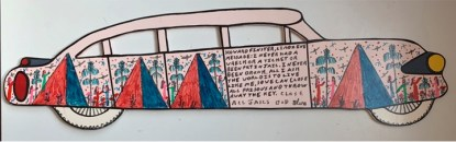 Howard Finster, 1994. 23x5.5 inches. Plywood.