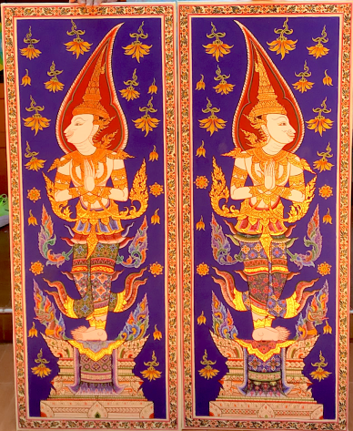 """48"""" x 20"""". Painted by Prasirt Saegsanor, from the collection of Dan Jenkins. These two paintings are done by a good friend of mine who does the interior paintings of many Temples here in Thailand. He was gracious enough to paint these for me, and they are truly stunning, even more so in person."""