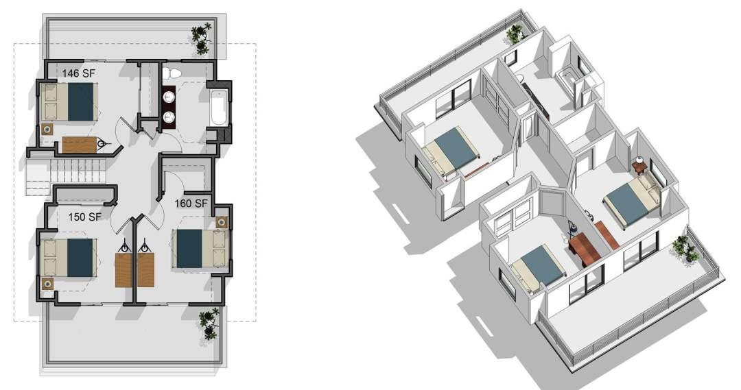 5 bedroom, 2 bathroom, second floor
