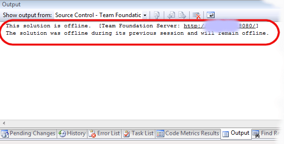 Offline Feature TFS 2008 can get you puzzled, Solution not bound to