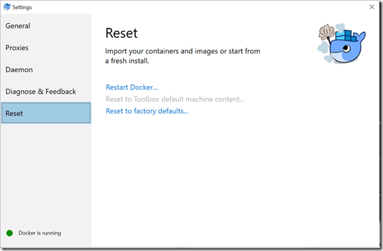 reset docker settings