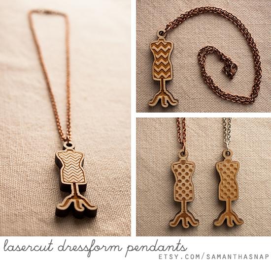 lasercut dressform pendants at samanthasnap