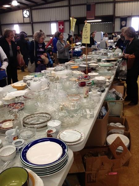 rummage sale in the horse barn - glassware