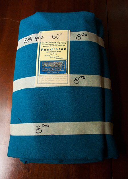 rummage sale - turquoise pendleton wool