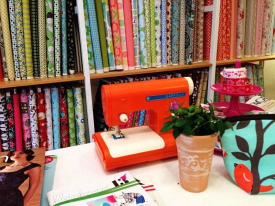 orange sewing machine at volksfaden, berlin