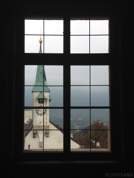 church steeple through a window, salzburg