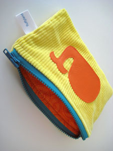 handmade whale zipper pouch