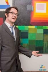 James Oliver with artwork