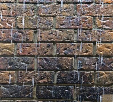 brick and rain