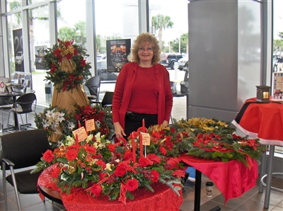 Kim Graboff with floral decorations