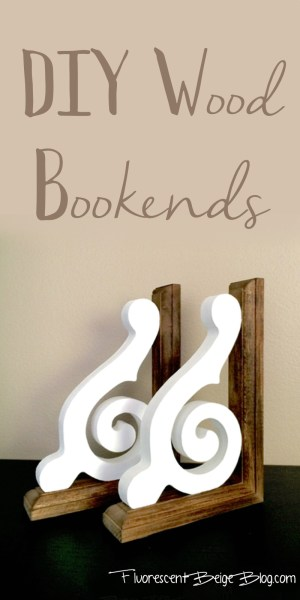 DIY Wood Bookends Fluorescent Beige