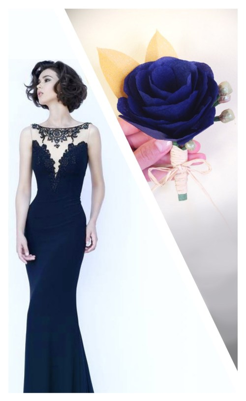 Navy Blue Paper Corsage and Dress Paper Craft for Formal Occasions