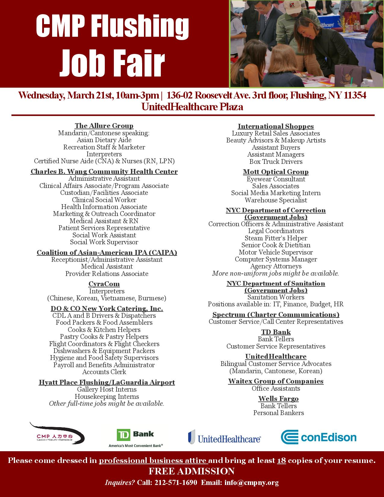Need a Job? - Greater Flushing Chamber of Commerce
