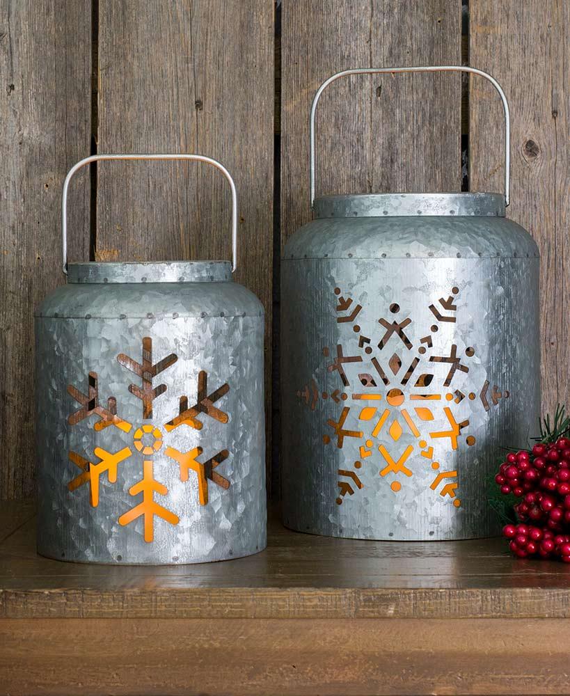 Lighted Metal Snowflake Lanterns