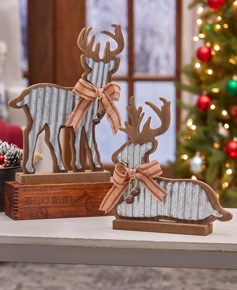 Wooden and Metal Deer Figures