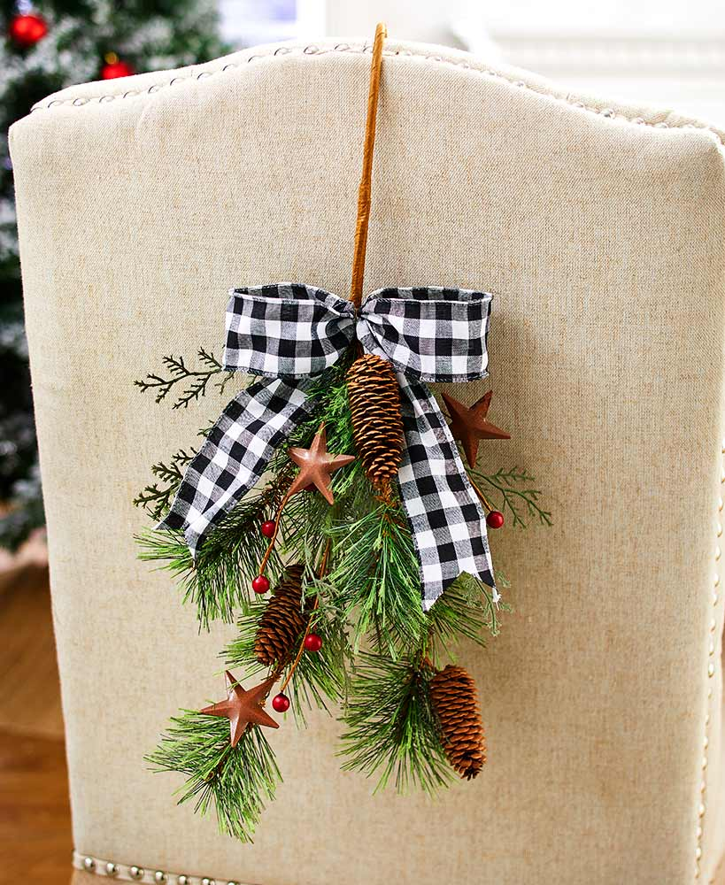 Country Christmas Decor- Chair Back Accents