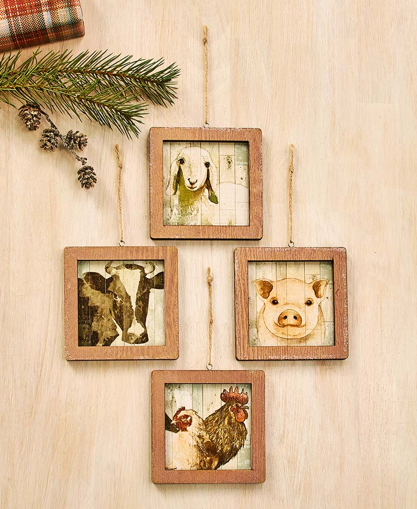 Farm Animal Portrait Ornaments