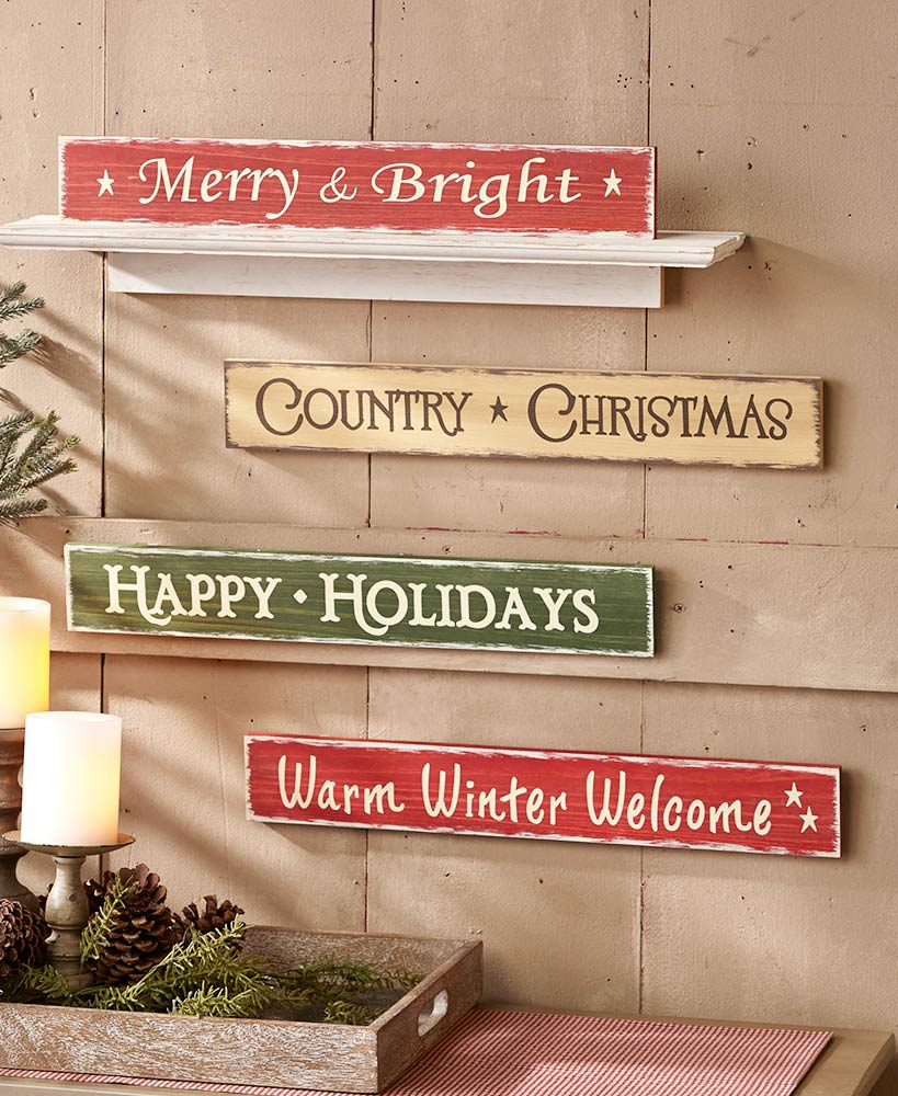 Country Christmas decor- Holiday Sentiment Signs