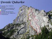 Schițe trasee în Peretele Vulturilor, alpinism, Coștila, Bucegi, Policandrul, Fluturele de Piatră
