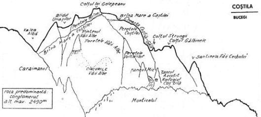 schita pereti alpinism bucegi