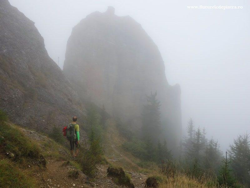 turn din congolomerat pe creasta ZĂganu-Gropșoarele, muntii ciucas pe ceata