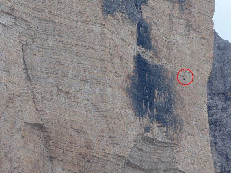 alpinisti in ruta Cassin din Cima Ovest, Tre Cime di Lavaredo