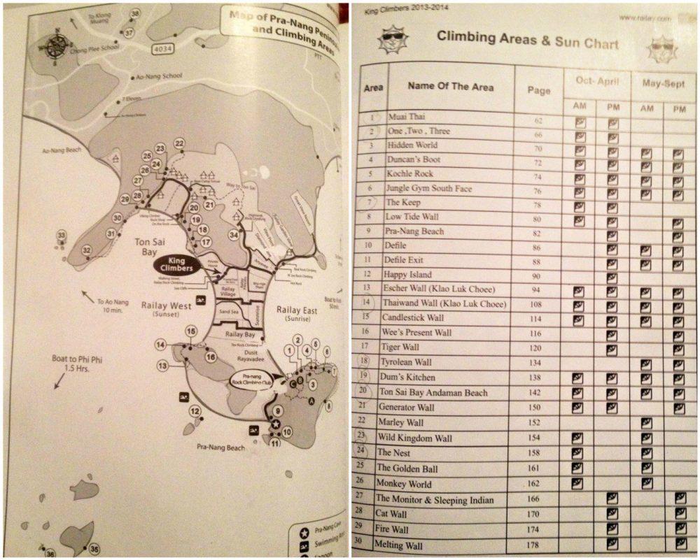 harta & topo cu falezele de escaladă din Ton Sai și Railay