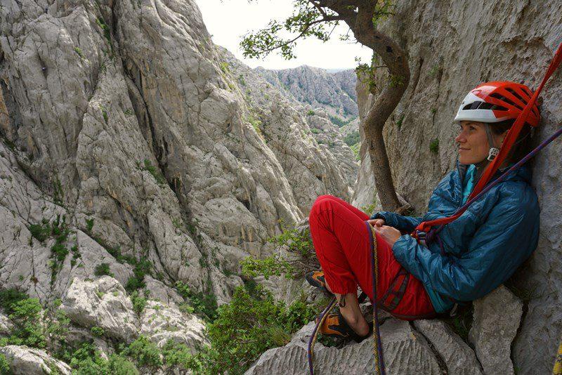 admiring the view from debeli kuk wall, climbing paklenica senza pieta