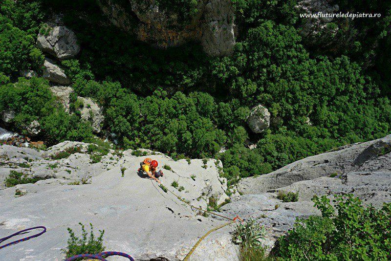 perfect slab climbing in Debeli Kuk, Senza Pieta route, Paklenica