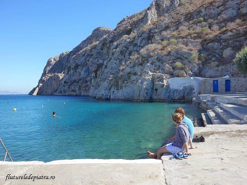 zonă de deep water solo - Vathy, Kalymnos, Grecia, vacanta de escalada