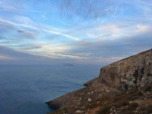 sectorul Secret Garden la apus, insula Kalymnos, escalada Grecia