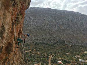 Clarissa pe Romanice on Rock, sector Arginonta, catarare Kalymnos Grecia