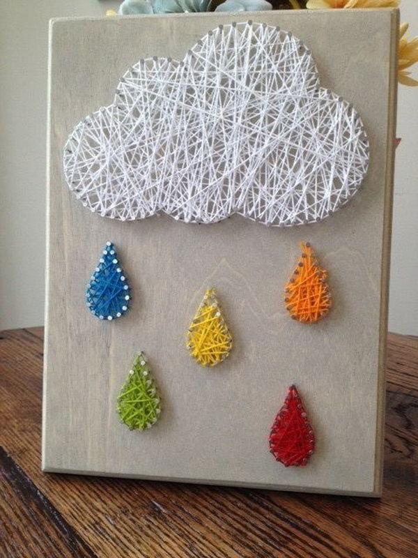 Rain Cloud Nail And String Art
